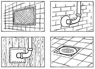 Rottesikring - nødvendige åbninger sikres med metalnet - rørgennemføringer sikres med beton eller galvaniseret plade - riste ved gulvafløb skal være af metal og skruet fast til gulvet