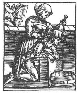 Træsnit og tekst af Plinius om hovedlus